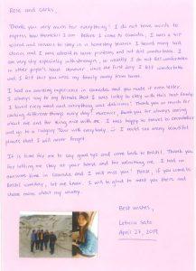 Leticia's letter